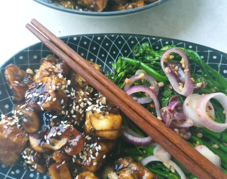 Tofu Garlic and Mushroom with Broccoli Sides
