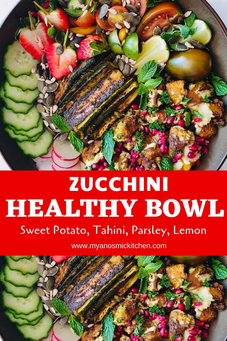 healthy zucchini sweet potato bowl