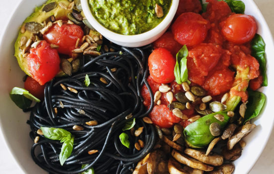Pasta Pesto Rainbow Buddha Bowl