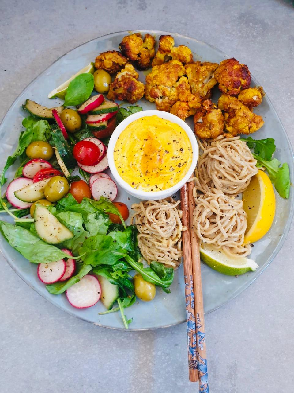 Roasted Cauliflower in Tahini – Buddha Bowl