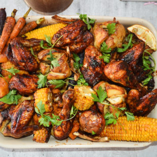 roasted sticky chicken roast potato and corn