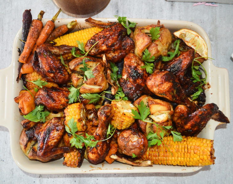 Roasted Sticky Chicken and Veggies