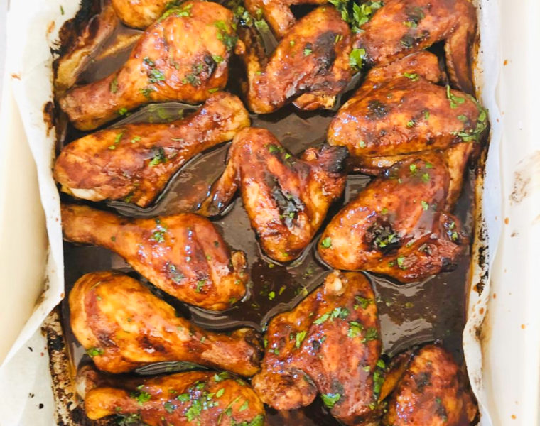 roasted sticky chicken and corn south African recipe