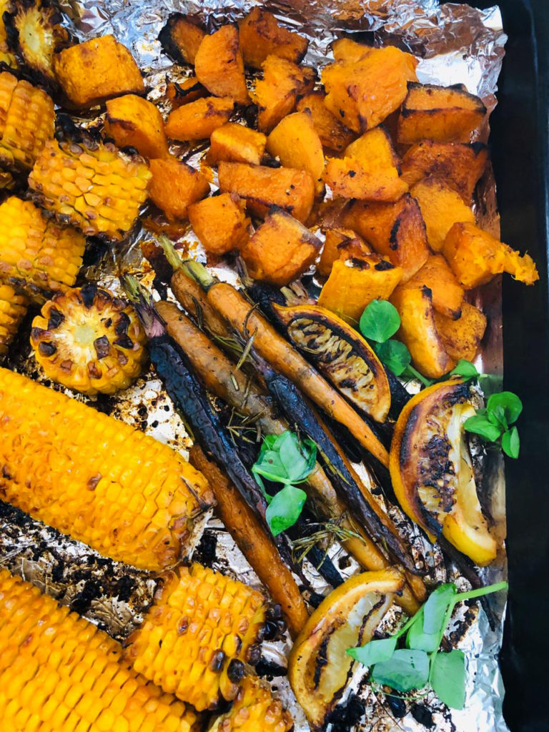 Roasted sticky chicken, roast potato, corn, fresh garlic, carrots, butternut, fresh lemon, herbs and spices is my homemade South African recipe that I am extremely happy to be sharing with you today.